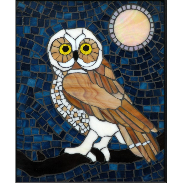 Wood Judy Norther Saw Whet Owl Mosaic Art Piece Artists Surnames Q Z Tiles And Supplies