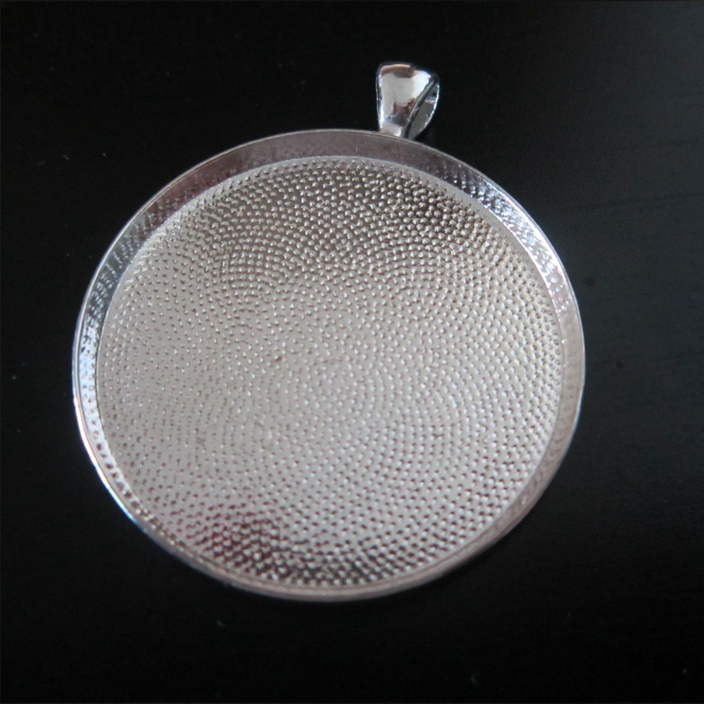 1-NEW! Pendant base : CIRCLE silver plated