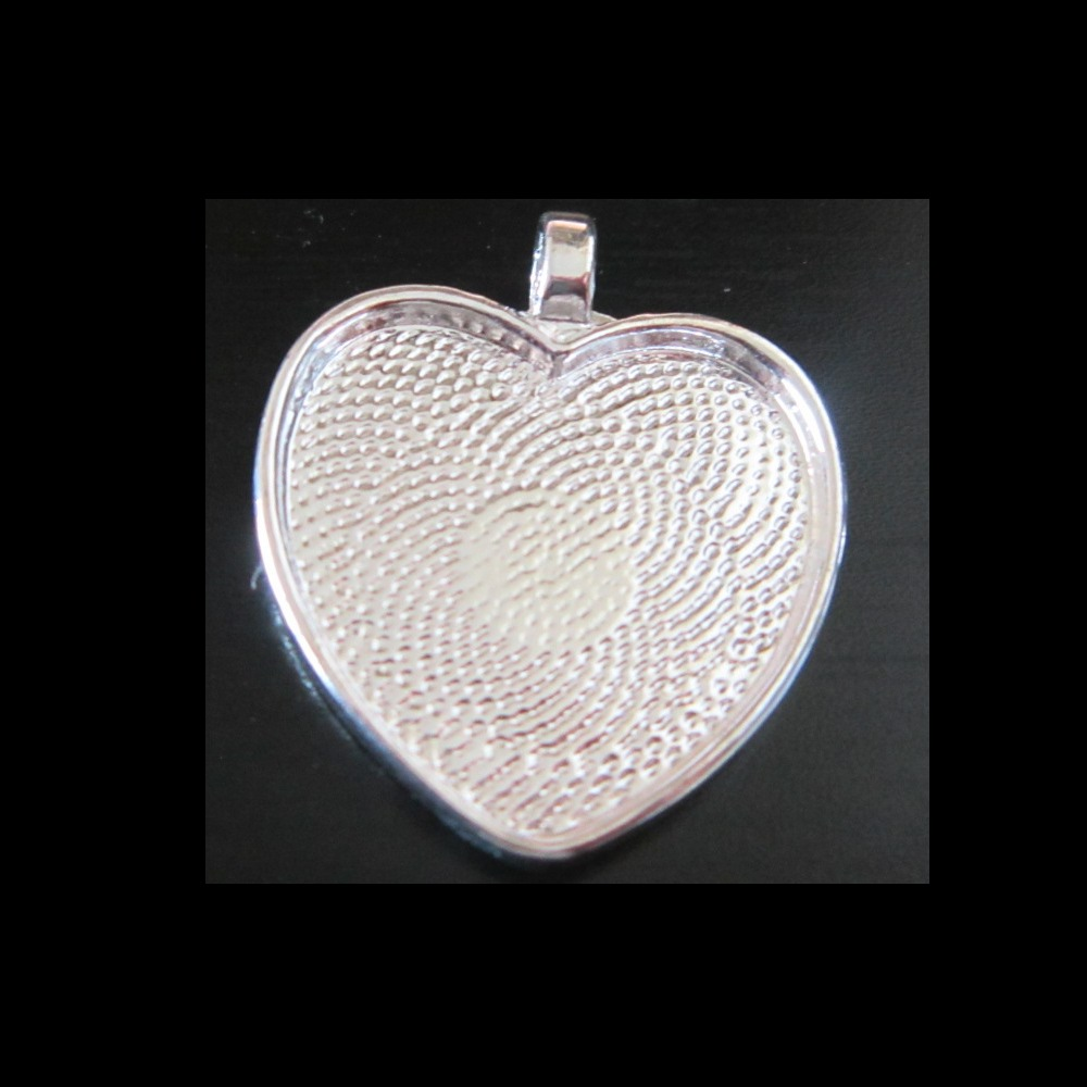 1-NEW! Pendant base : HEART silver plated